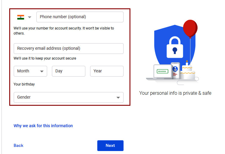 create new gmail account with phone number