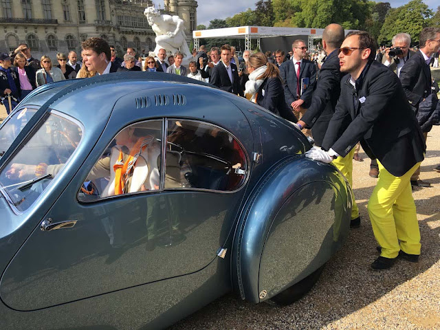 Bugatti T57SC  is pushed to the concourse at Chantilly