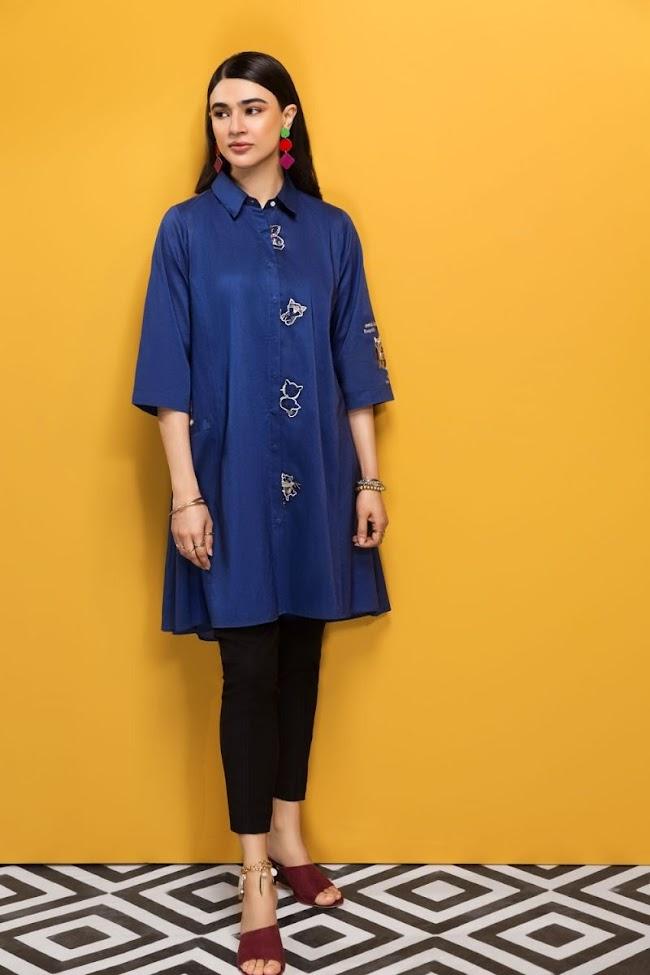 Nishatlinen Navy Blue Lawn Shirt
