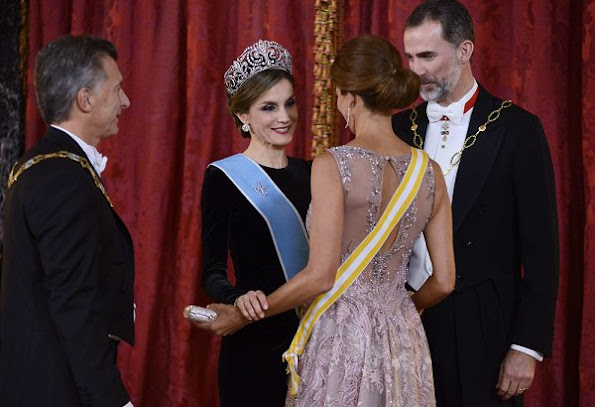 King Felipe and Queen Letizia of Spain receive Argentina's President Mauricio Macri and wife Juliana Awada for an Gala Dinner at the Royal Palace