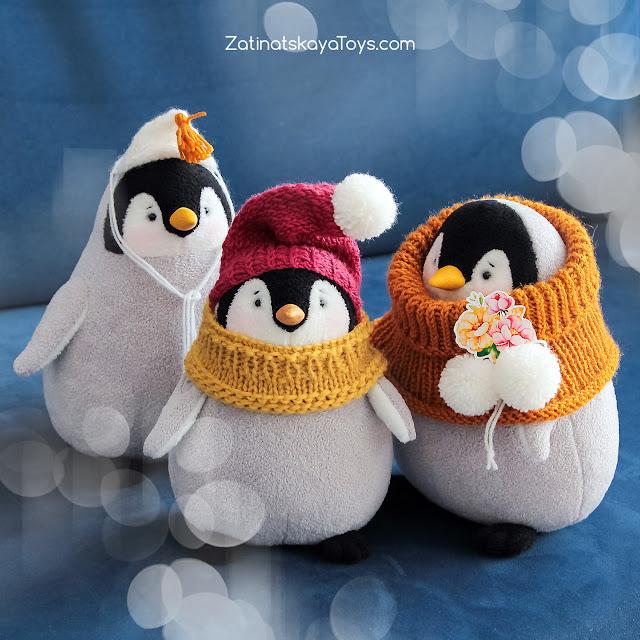 мягкие игрушки пингвины сделаны своими руками на Новый год по выкройке Затинацкой Натальи