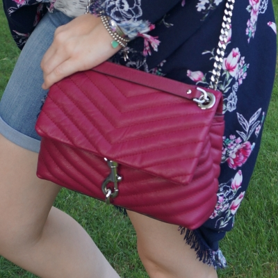 floral kimono with magenta Rebecca Minkoff edie crossbody small bag | away from the blue