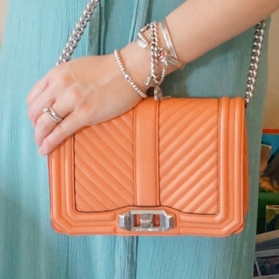 silver bracelet stack, Rebecca Minkoff chevron quilted small Love crossbody bag in pale coral | awayfromtheblue
