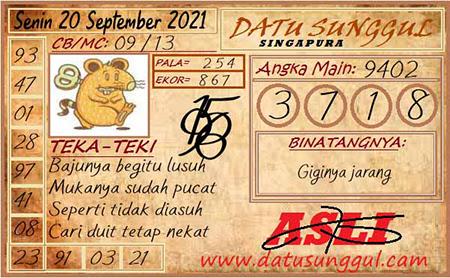Prediksi Datu Sunggul SGP Senin 20 September 2021