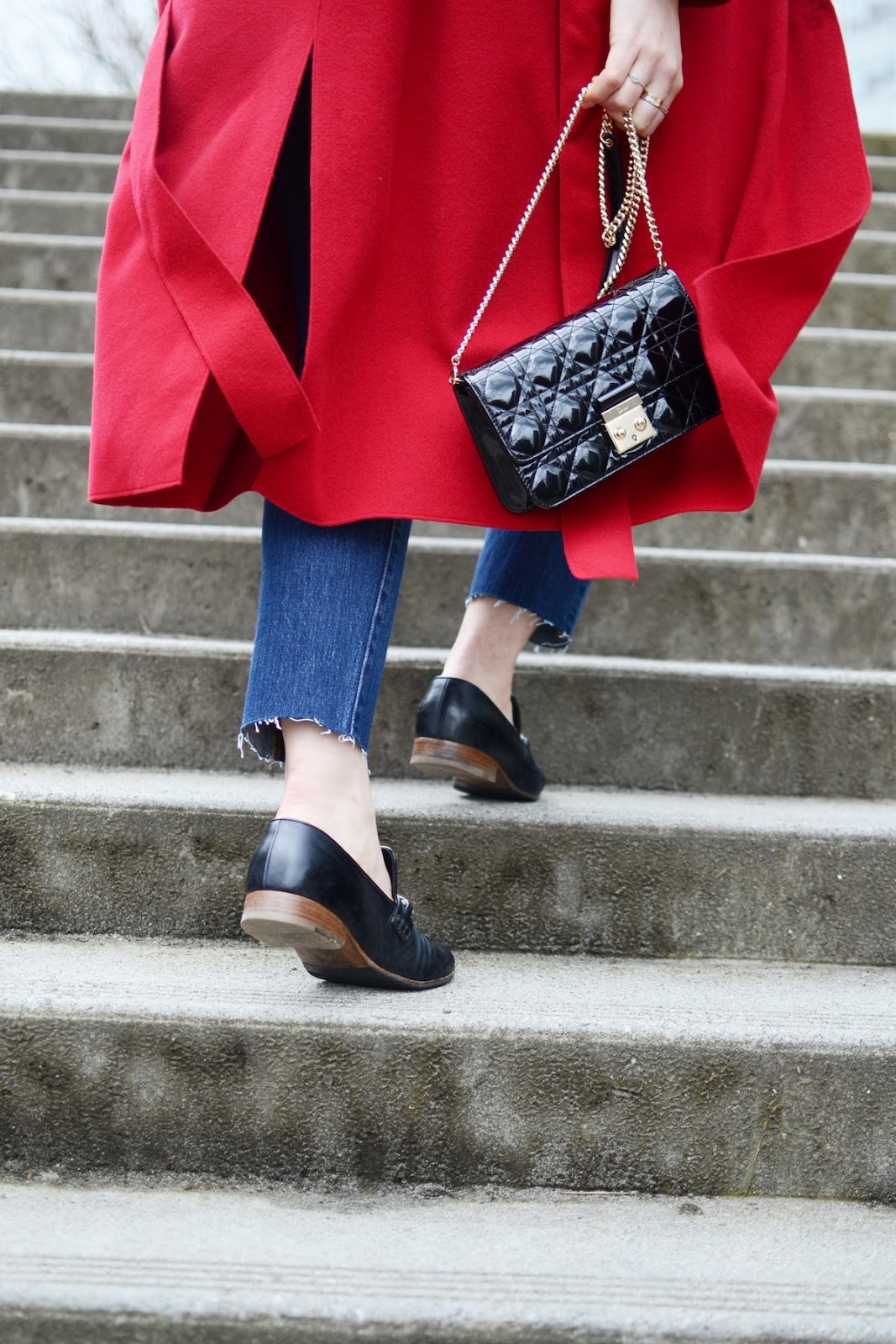 Red wool coat mang robe coat Dior Promenade Levi's 501 skinny jeans outfit vancouver fashion blogger