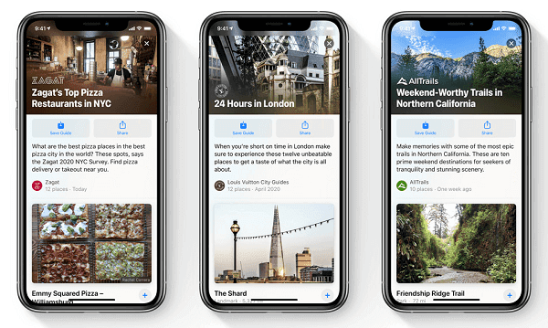 ios 14 apple maps guides