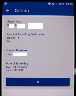 NBK travel notice summary