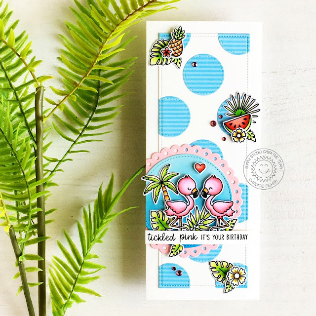 Sunny Studio Stamps: Stitched Circle Dies Fabulous Flamingos Tropical Scenes Slimline Dies Tropical Themed Card by Candice Fisher