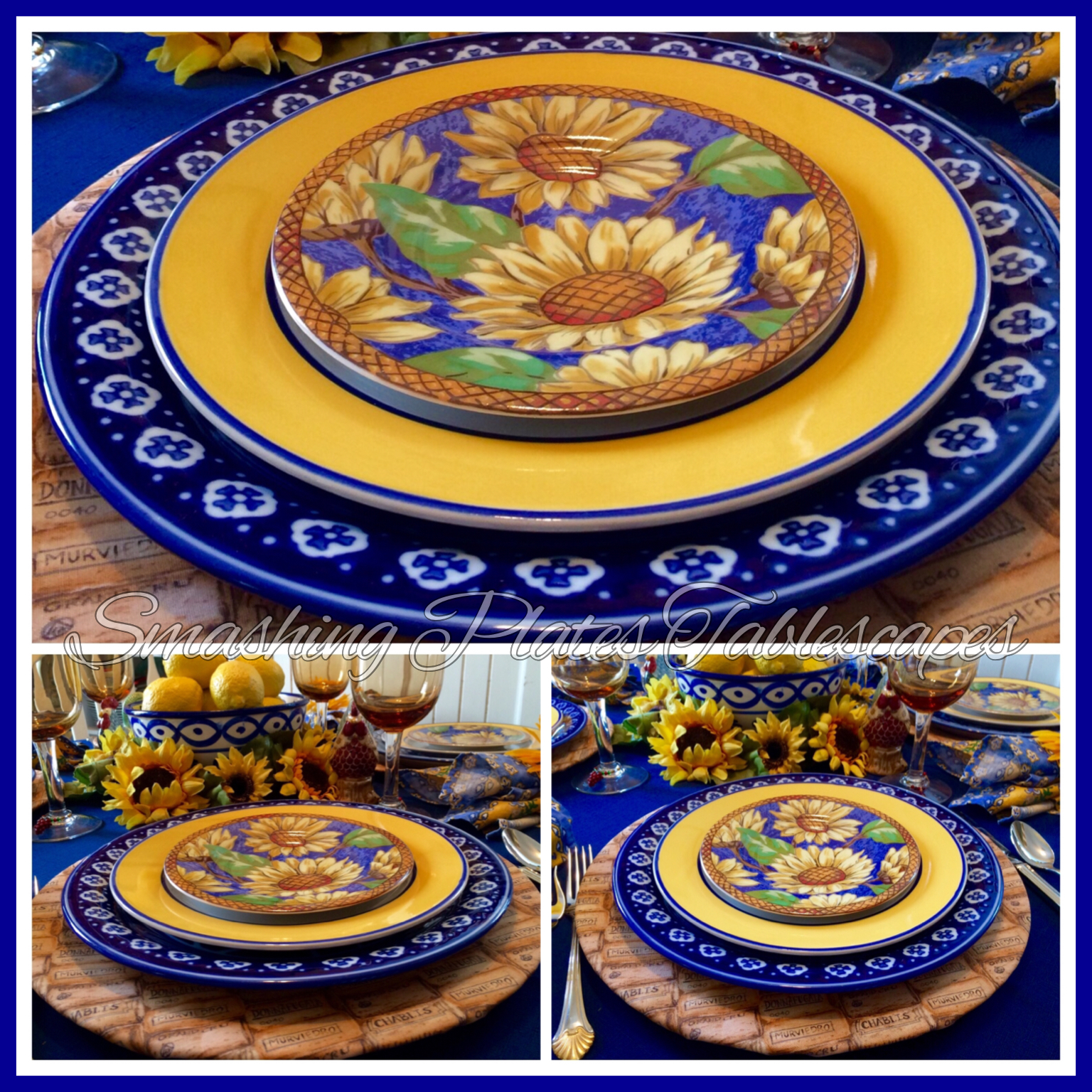 Sunflower place setting.  sc 1 st  Smashing Plates Tablescapes - Blogger : sunflower pattern dinnerware - Pezcame.Com