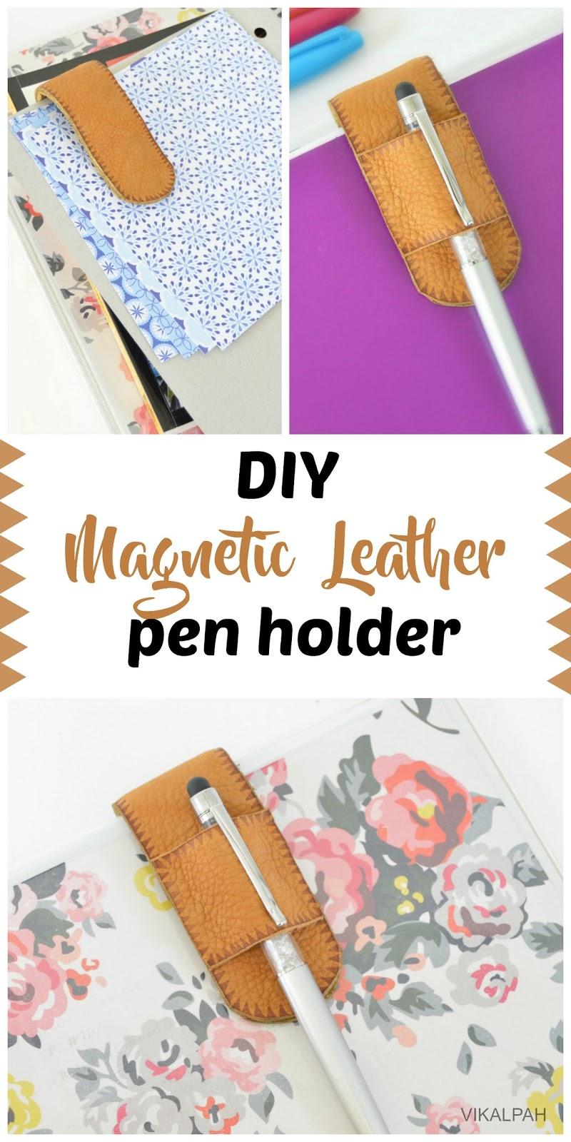 Vikalpah Diy Magnetic Leather Pen Holder