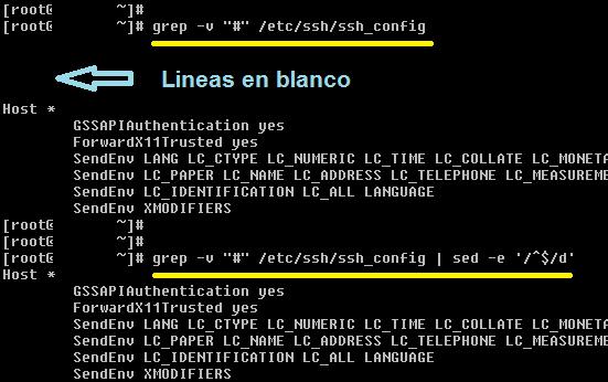 Linux: grep mostrar lineas sin comentarios