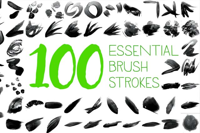 100 Essential Brush Strokes Pack