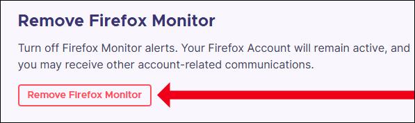 """انقر فوق """"إزالة Firefox Monitor"""""""