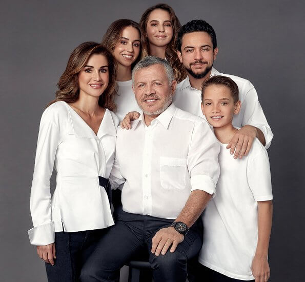 Queen Rania wore a belted blouse by Jil Sander Navy. Crown Prince Hussein, Princess Iman, Princess Salma and Prince Hashem