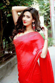 Bidya Sinha Saha Mim In Red Saree Photo