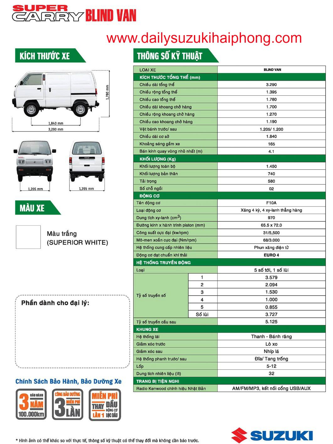 thông số kỹ thuật của xe bán tải suzuki Hải Phòng