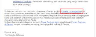 daftar ulang Adsense saat di tolak dengan Email yang sama