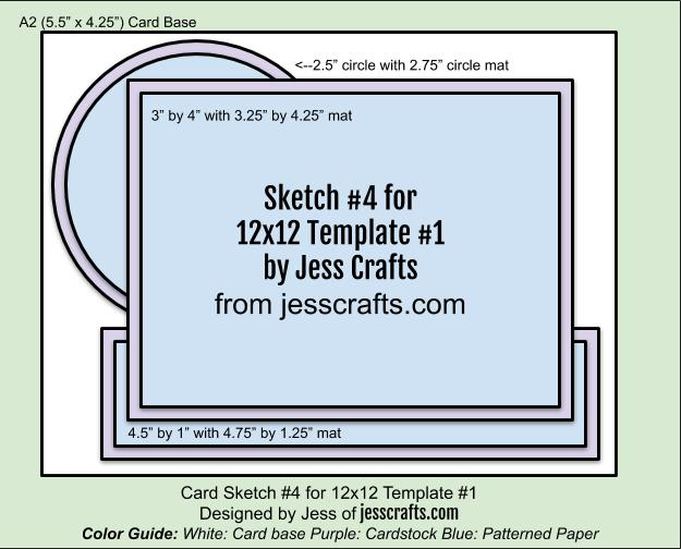 Card Sketch 4 for 12x12 Paper Cutting Template #1 by Jess Crafts