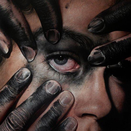 Oda e Kit King casal pinturas hiper-realistas olhos retratos