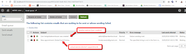Kentico email queue, global events