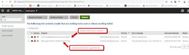 Kentico email queue, global events