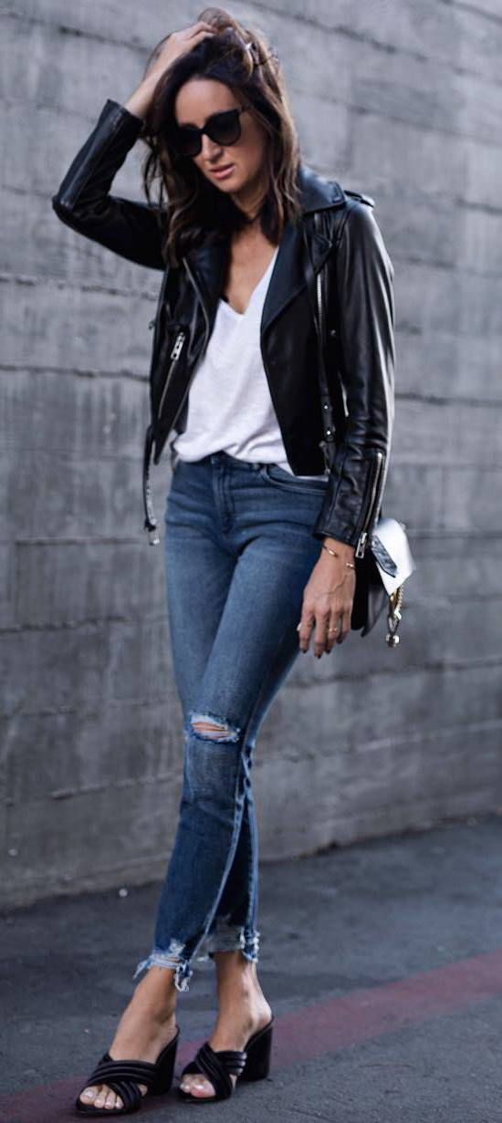 street style addict / black leather jacket + rips + white top + bag + flip flop