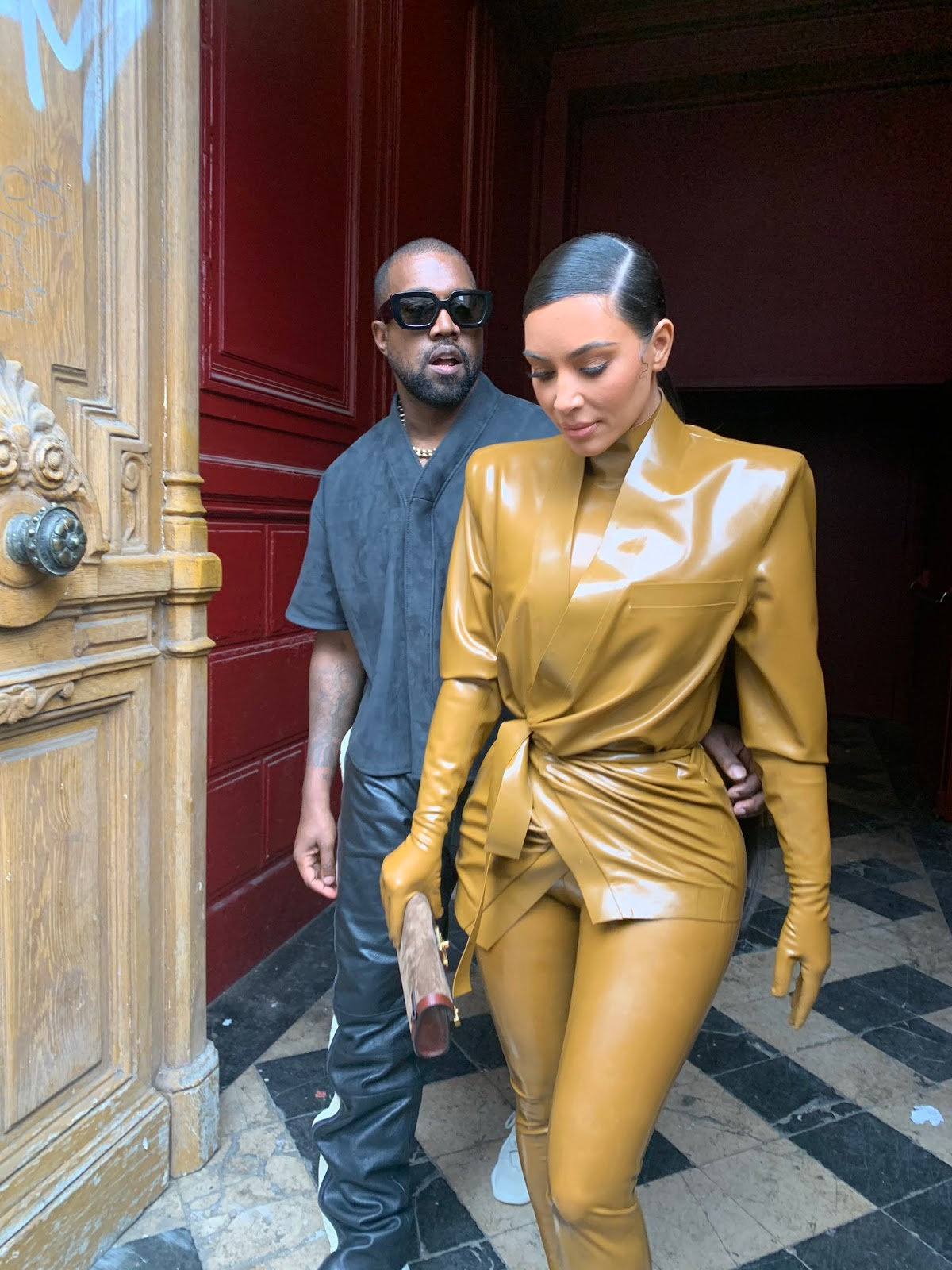 Kim and Kanye looked smitten as they left the Theatre des Bouffes du Nord