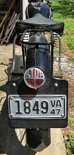 Rear view of 1940s Royal Enfield Model RE.