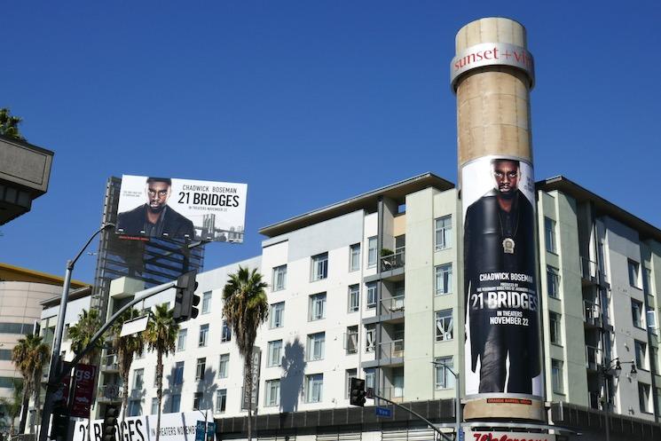 Chadwick Boseman 21 Bridges movie billboards