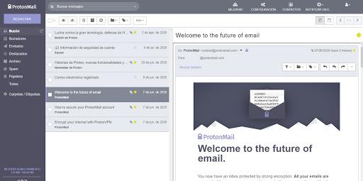 Revisando el correo de ProtonMail