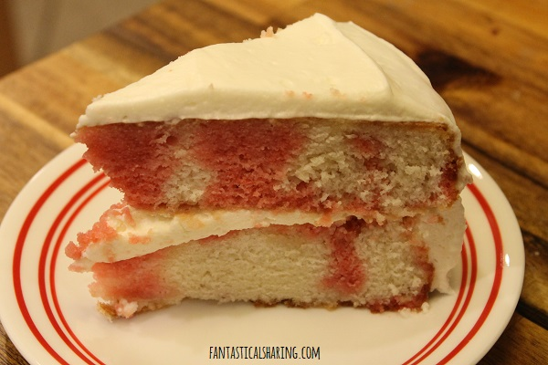 Strawberries & Cream Layer Cake #recipe #dessert #cake #strawberry
