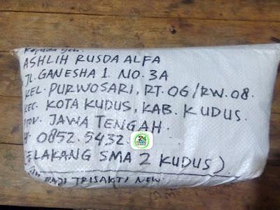Benih padi yang dibeli   ASHLIH RUSDA ALFA Kudus, Jateng..  (Setelah packing karung).