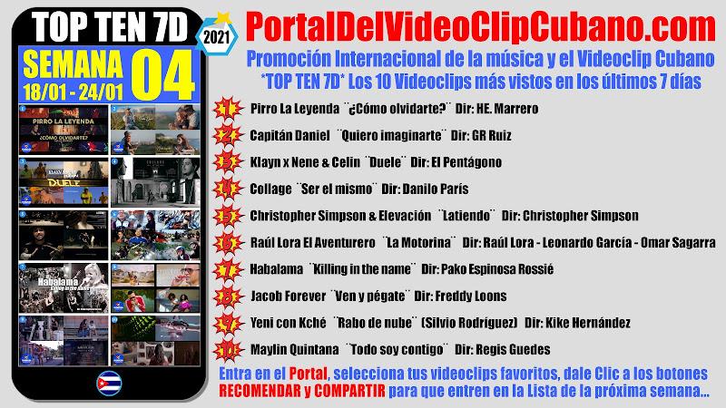 Artistas ganadores del * TOP TEN 7D * con los 10 Videoclips más vistos en la semana 04 (18/01 a 24/01 de 2021) en el Portal Del Vídeo Clip Cubano