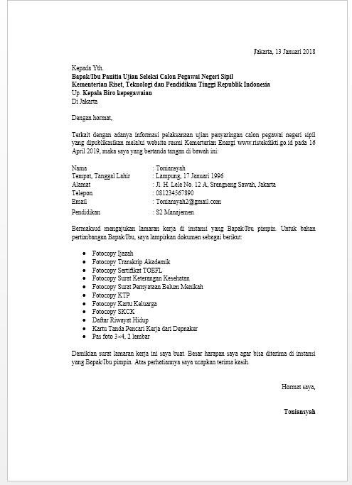 Contoh Surat Lamaran Instansi Pemerintahan