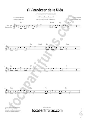 Saxofón Alto y Sax Barítono Partitura de Al Atardecer de la Vida Sheet Music for Alto and Baritone Saxophone Music Scores