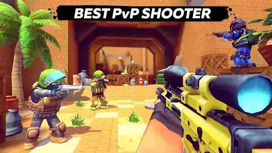 معارك عبر الإنترنت مع ملايين اللاعبين من جميع أنحاء العالم! ضبط الأسلحة الخاصة بك ، ترقية شخصيتك والفوزKUBOOM 3D: FPS Shooter