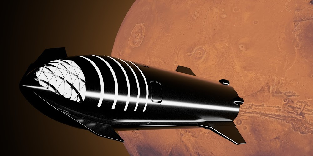 SpaceX new Starship leaving Mars by William Falconer-Beach