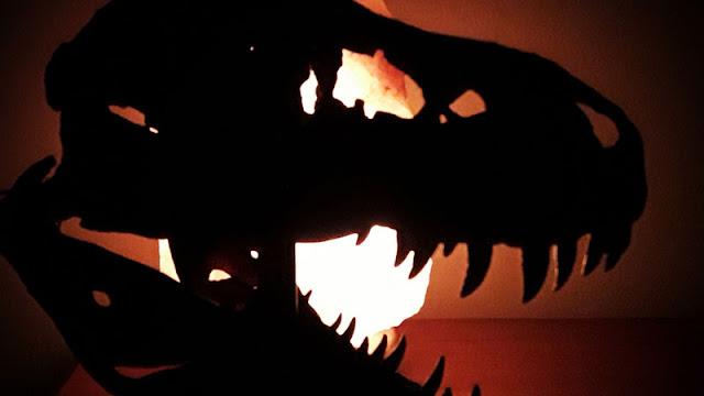 dinosaur skull backlit