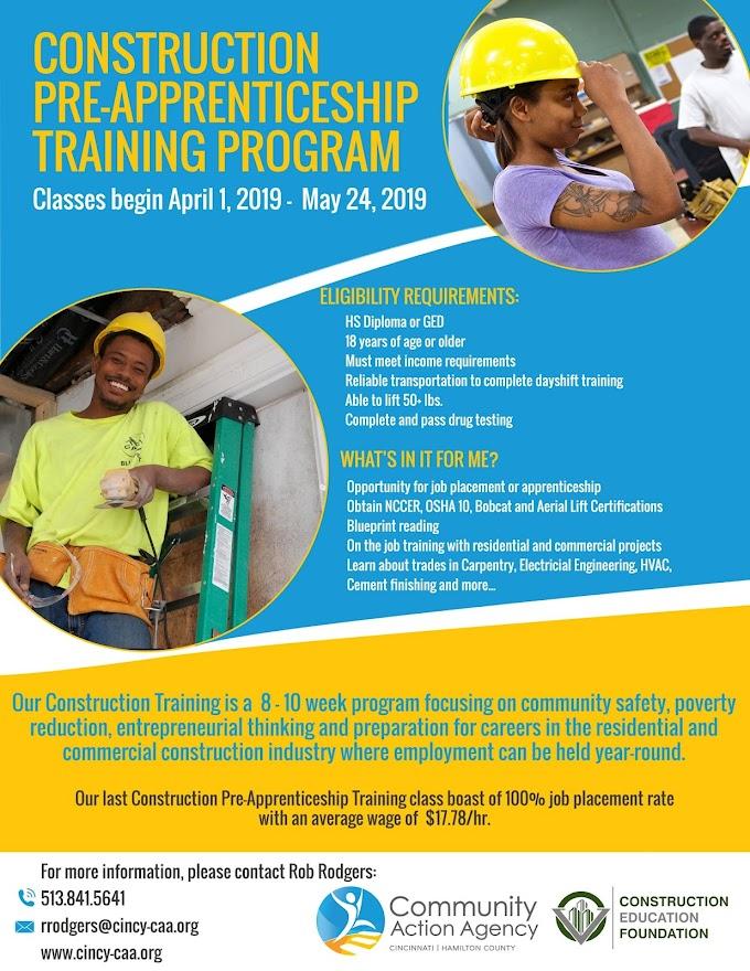Construction Pre-Apprenticeship Training Program Starting April 1, 2019