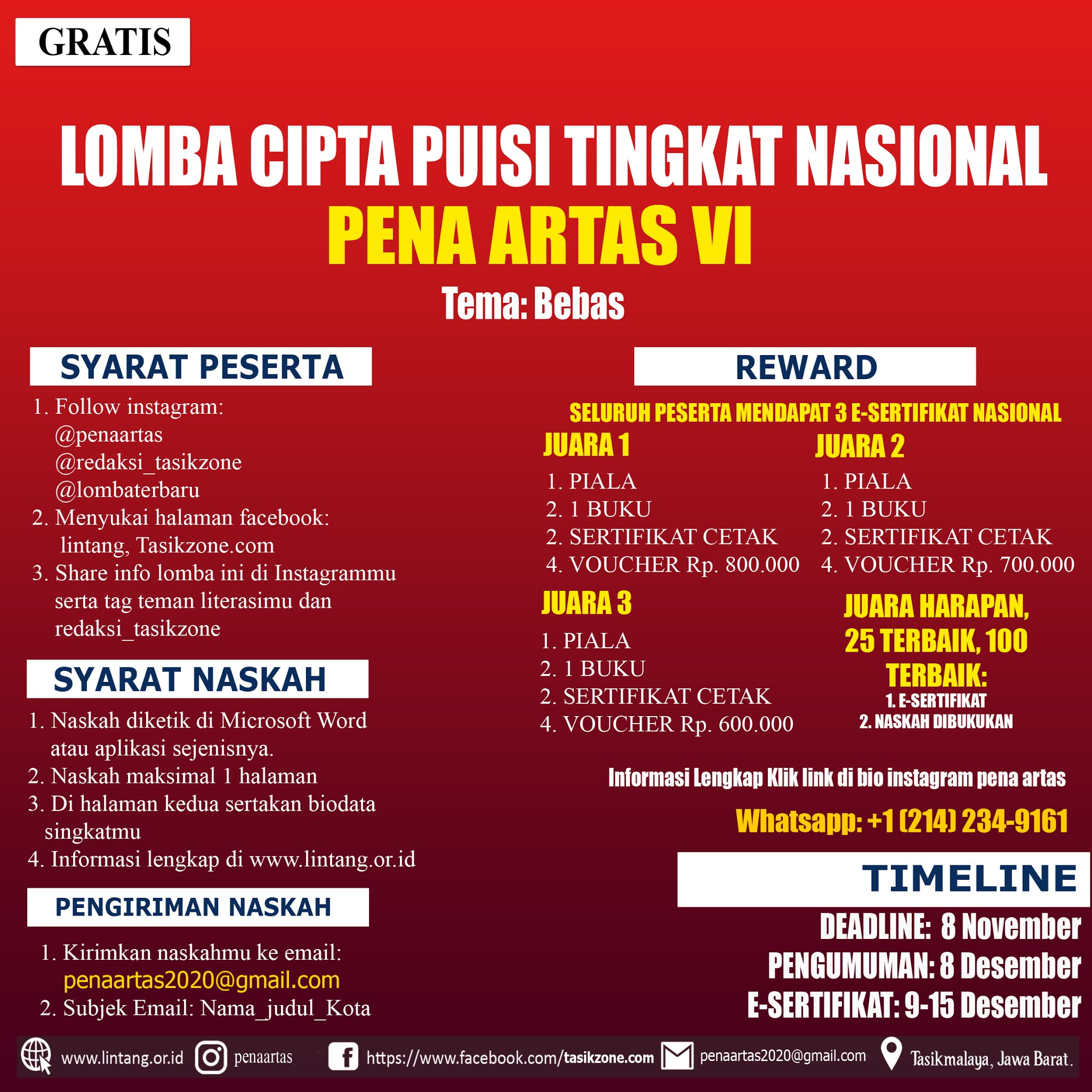 LOMBA CIPTA PUISI TINGKAT NASIONAL PENA ARTAS PART VI DEADLINE 08 NOVEMBER 2020