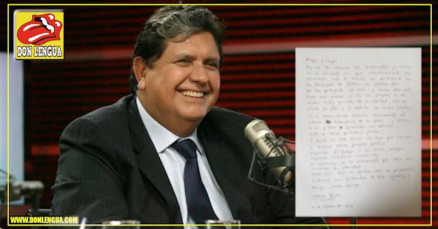 La carta que dejó Alan García tras su suicidio - Deja su cadáver a sus adversarios