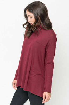 Buy Burgundy Funnel Neck Draped Knit Tunic Online $20 -@caralase.com