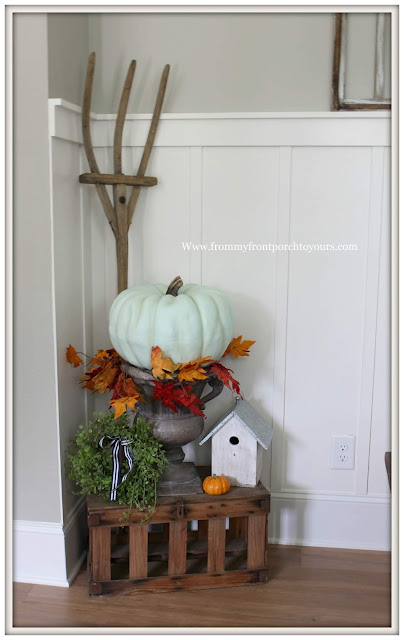 Fall Dining Room-French Country-Vintage Pitch Fork-Teal Pumpkin-Pumpkin on Urn-From My Front Porch To Yours