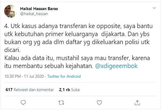 Pengakuan Ustadz Haikal Hassan Transfer Uang ke Opposite, tapi...