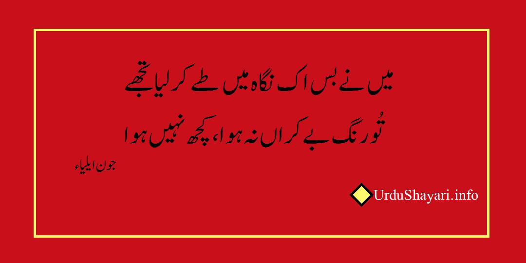 jaun Elia poetry - 2 line sad shayari in urdu by urdushayari.info