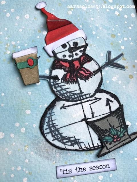 Sara Emily Barker https://sarascloset1.blogspot.com/ Tim Holtz Stampers Anonymous Sizzix Christmas Card 2