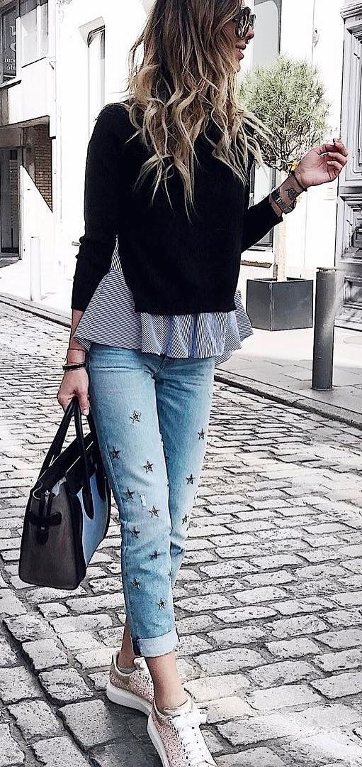 perfect casual style: top + bag + jeans