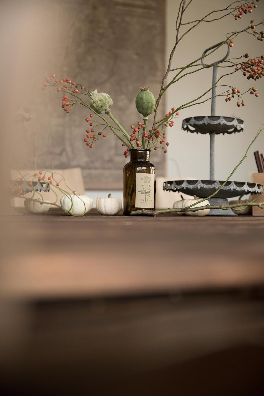 Tischdeko für den Herbst mit Mohnkapseln und Hagebutten. Dekoidee herbstlich dekorieren