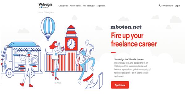 Website freelance job yang suka design grafis anda bisa mendaftarkan 99design. Untuk membuat karya design anda yang bagus anda bisa mendapatkan uang sampingan, yang berdasarkan hobi design