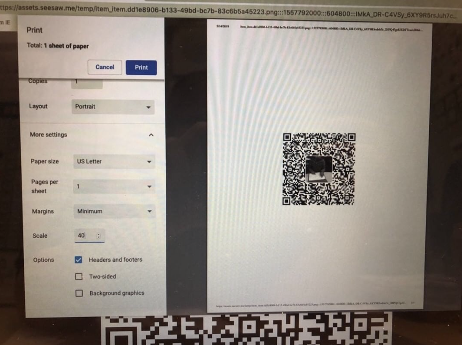 Create QR Kids QR Codes using Seesaw